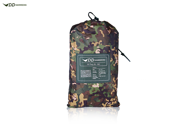 DD Tarp XL in multicam packed up in stuff sack