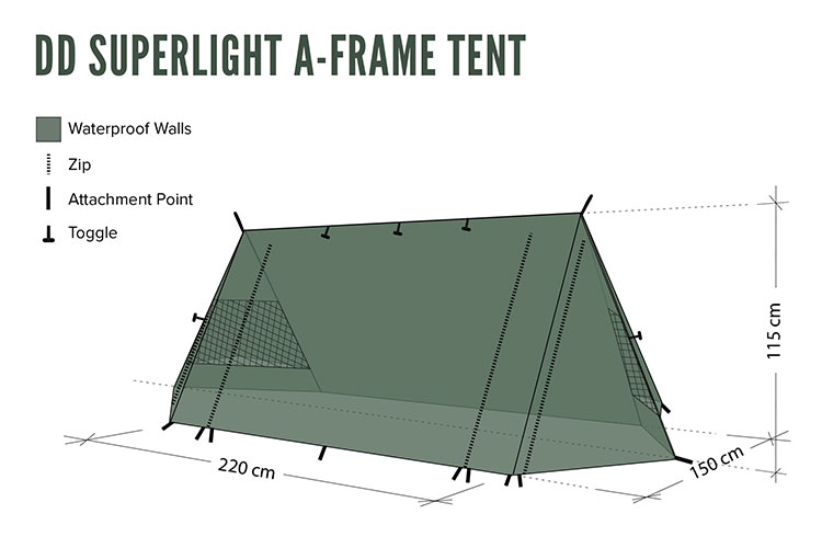 DD SuperLight - A-Frame - Tent . Floor plan - view from the side